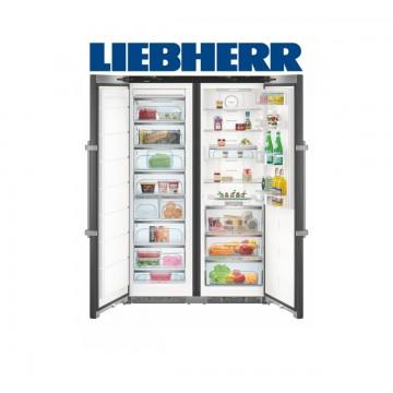 Volně stojící spotřebiče - Liebherr SBSbs 8673 Americká chladnička, BioFresh, NoFrost, IceMaker, BlackSteel, A+++