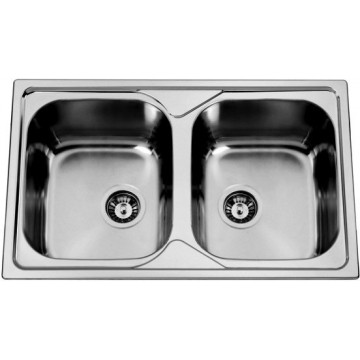 Kuchyňské dřezy - Sinks OKIOPLUS 800 DUO V 0,7mm leštěný