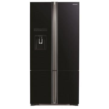 Volně stojící spotřebiče - Hitachi R-WB730PRU6X-GBK kombinovaná čtyřdveřová chladnička Side-by-side, černá, NoFrost, A++, 7 let záruka