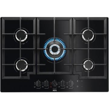 Vestavné spotřebiče - AEG Mastery HKB75540NB varná plynová deska, černá, Hob2Hood, 74 cm