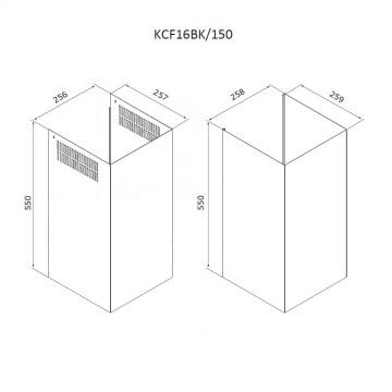 Příslušenství ke spotřebičům - Airforce Teleskopický komín KCF16BK/150 pro vertikální digestoře