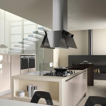 Vestavné spotřebiče - Falmec BUTTERFLY DESIGN Island - ostrůvkový odsavač, šířka 90 cm, černé sklo/nerez, 800 m3/h