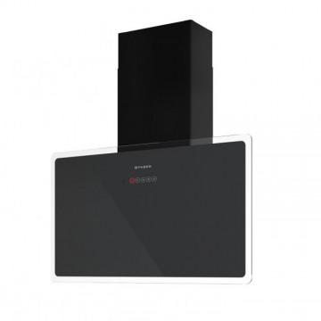Vestavné spotřebiče - Faber GLAM-FIT GR A80  - komínový odsavač, černá / šedé sklo s transparentním okrajem, šířka 80cm