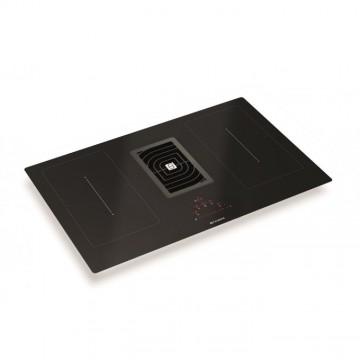 Vestavné spotřebiče - Faber GALILEO SMART BK A83  - varná deska s vestavěným odsavačem, černé sklo / litinová mřížka, šířka 83cm