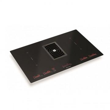 Vestavné spotřebiče - Faber GALILEO GLASS BK  - varná deska s vestavěným odsavačem, černé sklo / litinová mřížka, šířka 83cm