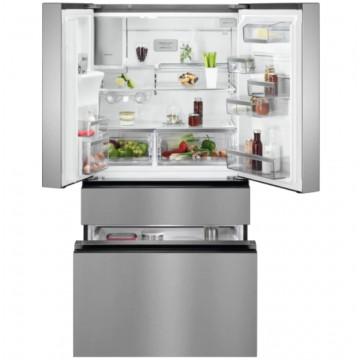 Volně stojící spotřebiče - AEG RMB954F9VX kombinovaná chladnička francouzského typu, NoFrost, CustomFlex, výdejník vody, A+