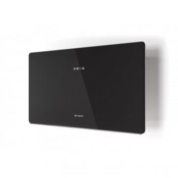 Vestavné spotřebiče - Faber GLAM FIT ZERO DRIP BK A80  - komínový odsavač, černá / černé sklo mat s transparentním okrajem, šířka 80cm