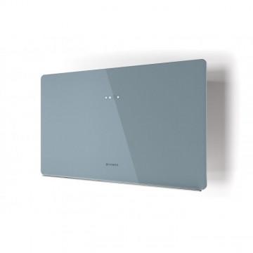 Vestavné spotřebiče - Faber GLAM FIT ZERO DRIP DB A80  - komínový odsavač, bílá / popelavě modré sklo s transparentním okrajem, šířka 80cm