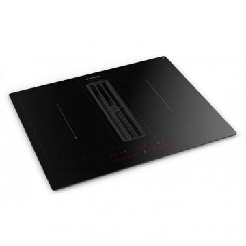 Vestavné spotřebiče - Faber GALILEO SMART BK A60  - varná deska s vestavěným odsavačem, černé sklo / litinová mřížka, šířka 60cm