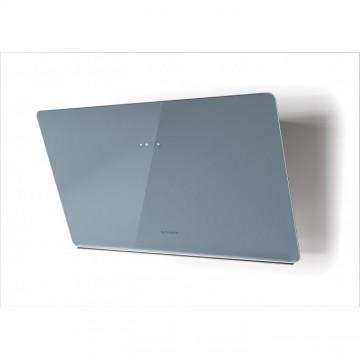 Vestavné spotřebiče - Faber GLAM LIGHT ZERO DRIP DB A80  - komínový odsavač, bílá / popelavě modré sklo s transparentním okrajem, šířka 80cm