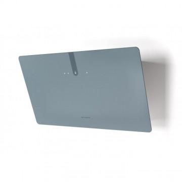 Vestavné spotřebiče - Faber GLAM LIGHT ZERO DRIP PLUS DB A80  - komínový odsavač, bílá / popelavě modré sklo s transparentním okrajem, šířka 80cm
