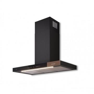 Vestavné spotřebiče - Faber T-AIR KL A90  - komínový odsavač, černé sklo / světle hnědé sklo, šířka 90cm