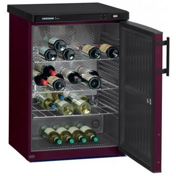 Volně stojící spotřebiče - Liebherr WKr 1811 Vinothek, objem 145 l (66 ks), dřevěné rošty, boky černé, dveře bordó