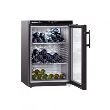 Volně stojící spotřebiče - Liebherr WKb 1812 Vinothek, objem 151 l (66 ks), kovové rošty, prosklené dveře, černá