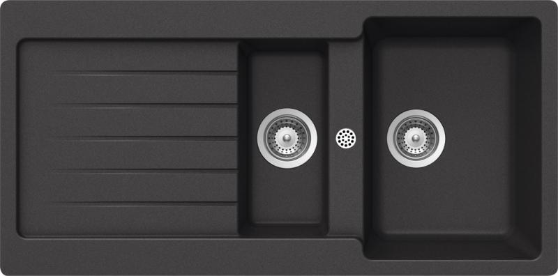 Schock Typos D-150 CRISTALITE+ Nero granitový dřez horní montáž + dárek Schock Univerzální skleněná krájecí deska, horní uložení 629036 zdarma