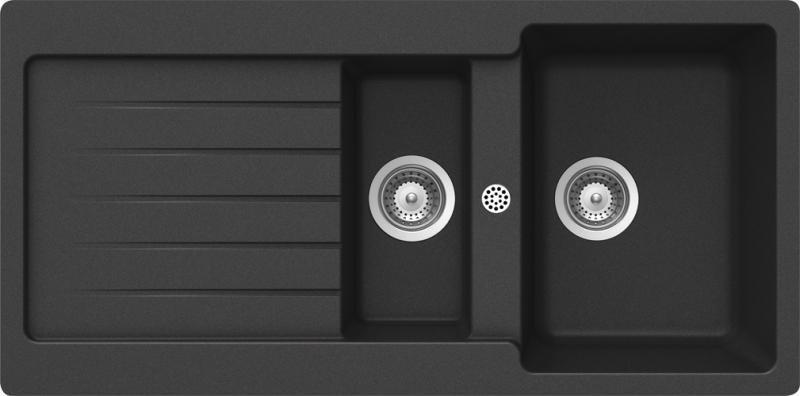 Schock Typos D-150 CRISTALITE+ Onyx granitový dřez horní montáž + dárek Schock Univerzální skleněná krájecí deska, horní uložení 629036 zdarma
