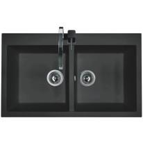 Set Sinks AMANDA 860 DUO Metalblack+CAPRI 4S GR